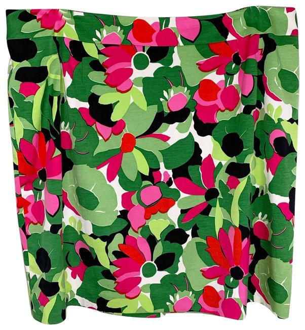 Item - Green Petites 24w Silk Blend Stretch Pink Floral Lined Skirt Size 24 (Plus 2x)
