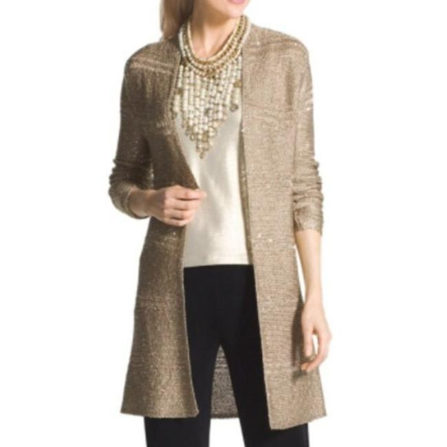 Item - Gold Traveler's Collection Sequin Knit Cardigan Size 12 (L)