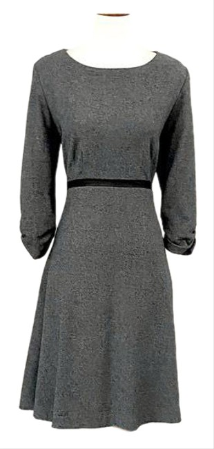 Item - Gray Knit Faux Leather Waist Fit & Flare Mid-length Work/Office Dress Size 12 (L)