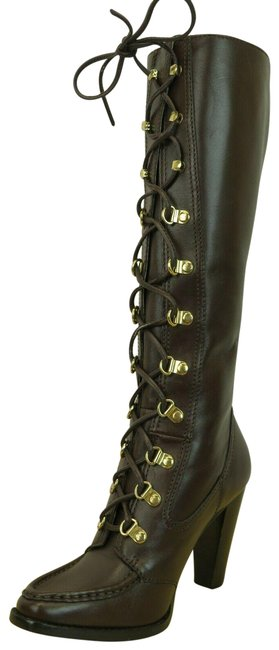 Item - Brown Jolene Corset Lace Up Leather Knee High Boots/Booties Size US 6 Regular (M, B)