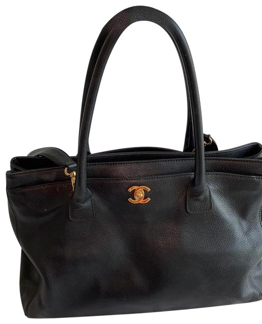 Item - Cerf Tote Black with Gold Hardware Leather Cross Body Bag