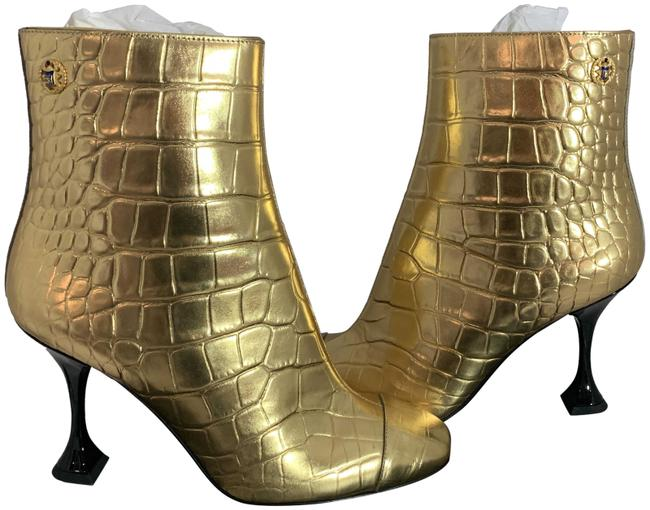 Item - Gold 1321 Croc Embossed Leather Metallic Boots/Booties Size EU 36 (Approx. US 6) Regular (M, B)