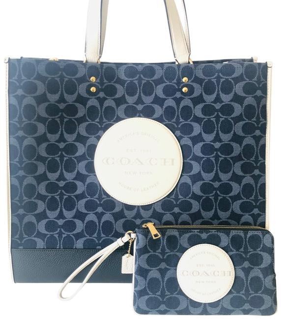 Item - Dempsey 40 In Signature Jacquard with Patch Purse Wallet Set Blue Denim Tote