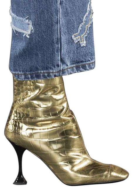 Item - Gold 1321 Croc Embossed Leather Metallic Boots/Booties Size EU 38.5 (Approx. US 8.5) Regular (M, B)
