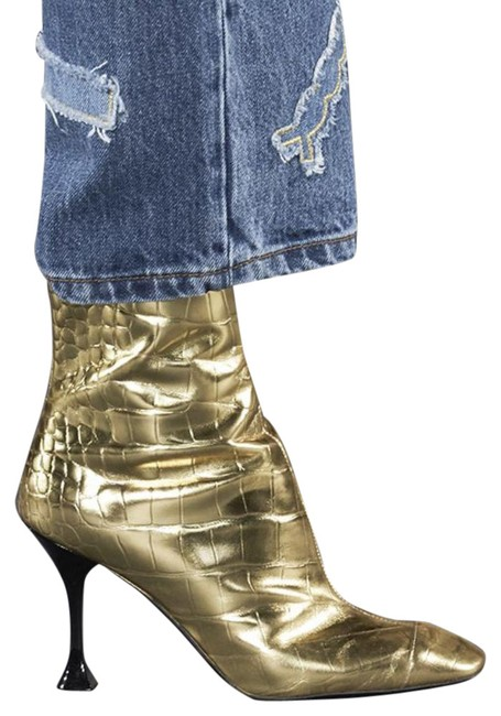 Item - Gold 1321 Croc Embossed Leather Metallic Boots/Booties Size EU 39.5 (Approx. US 9.5) Regular (M, B)