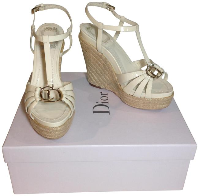 Item - Cream/ White Patent Leather Wedge with Logo Platforms Size EU 36 (Approx. US 6) Regular (M, B)