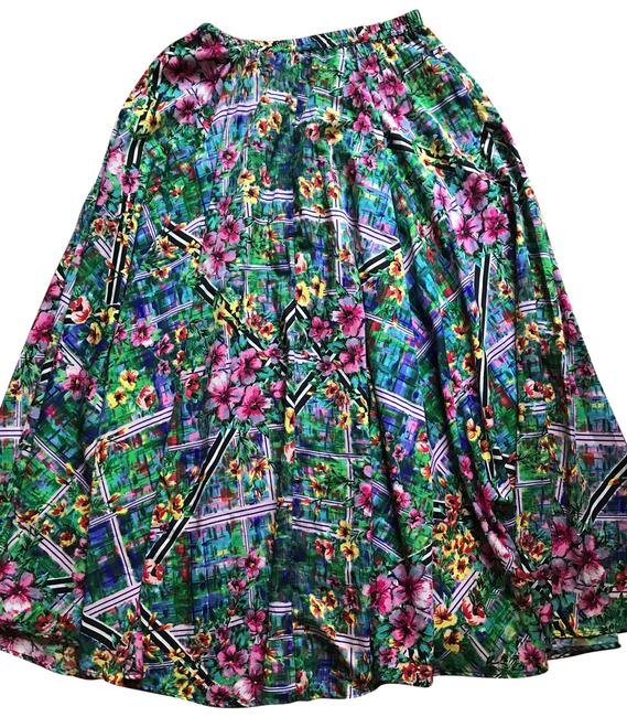 Item - Green Pink Floral Long Skirt Size 4 (S, 27)