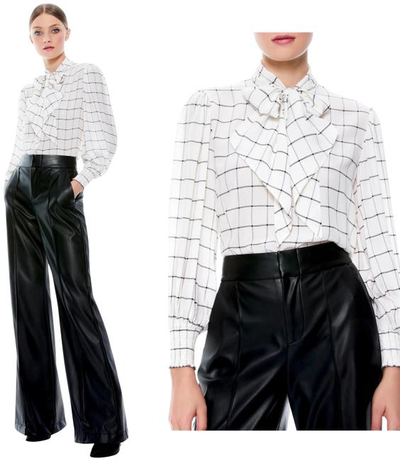 Item - Black and White Windowpane Front Bow Silk Semi Sheer Blouse Size 12 (L)