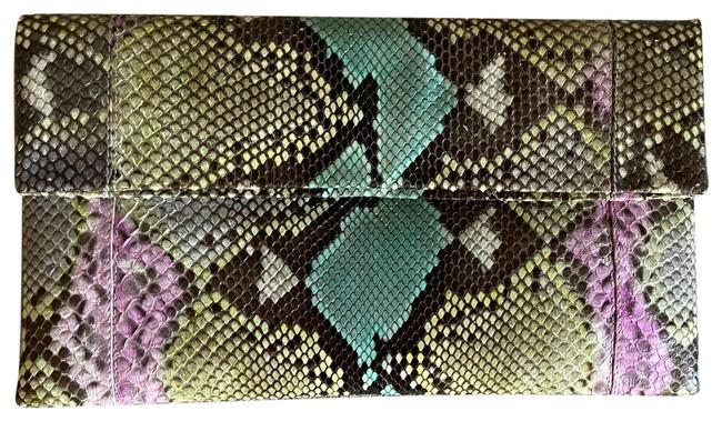 Item - Grey Blue Rose Yellow Snakeskin Leather Clutch