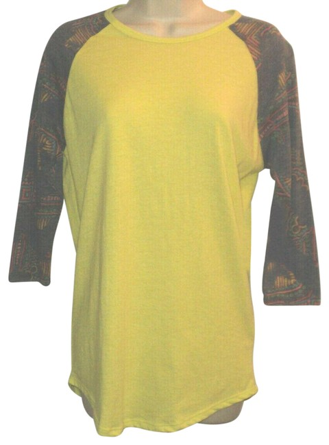 Item - Chartreuse & Multi Baseball 3/4 Sleeves Crew Neck Multi-colored Sleeves Tee Shirt Size 6 (S)