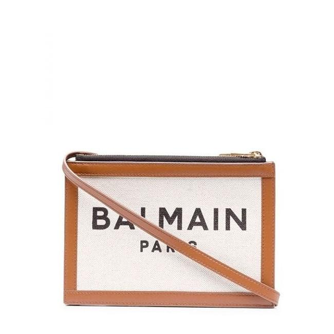 Item - B-army 26 with Brown Leather Panels Ecru Canvas Clutch