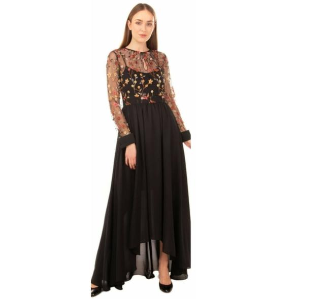 Item - Black Lace Embroidered Illusion Neck Long Formal Dress Size 6 (S)