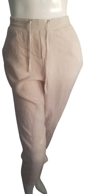 Item - Cream L Flax Linen Crop Pants Drawstring Capris Size 12 (L, 32, 33)