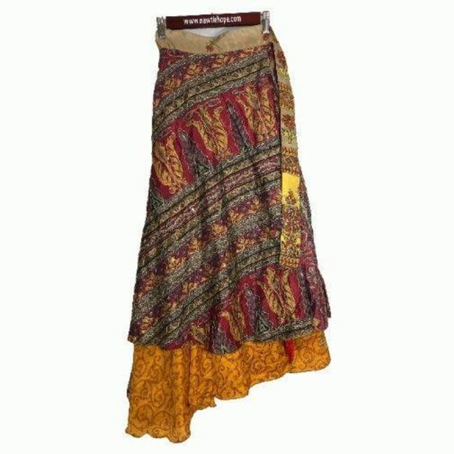 """Item - Orange L W Sari Wrap Reversible 41""""L 44""""W Gold Thread Sequins Brown Red Two Skirt Size OS (one size)"""