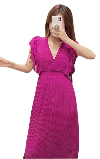 Item - Purple New Pleated Midi with Ruffles Small 4387/078 Mid-length Cocktail Dress Size 6 (S)