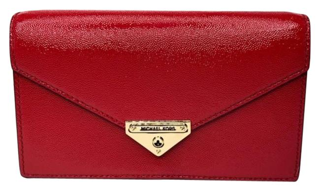 Item - Grace Bright Red/Gold Red Leather Clutch