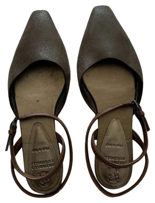 Item - Olive and Brown Leather Square-toe Flats Size EU 37 (Approx. US 7) Regular (M, B)