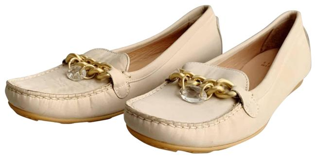 Item - Cream Chain Leather Driving Loafers Flats Size US 7.5 Regular (M, B)