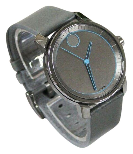 Item - Gray Bold Stainless Steel Leather Strap Blue Detail Wrist (3600490) Watch