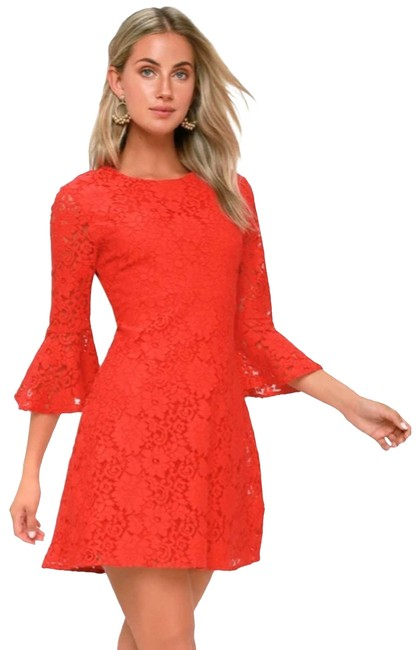 Item - Red Favorite Flair Lace Flounce Sleeve Cocktail Dress Size 12 (L)