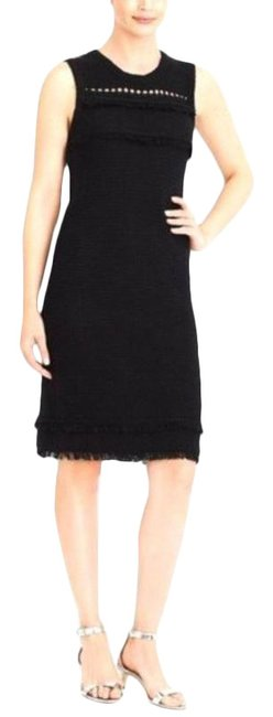 Item - Black Sleeveless Fringe Sweater Midi Mid-length Short Casual Dress Size 8 (M)