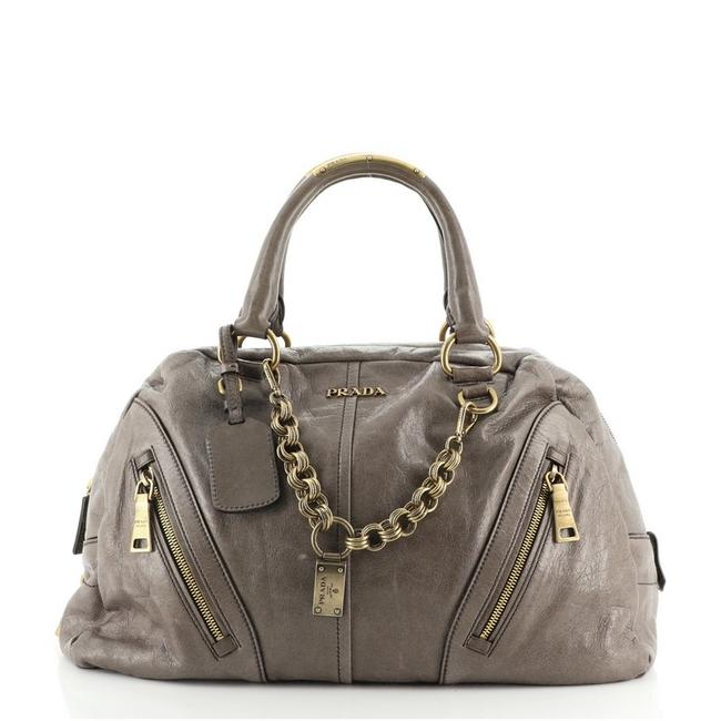 Item - Chain Link Bowler Vitello Shine Large Gray Leather Tote