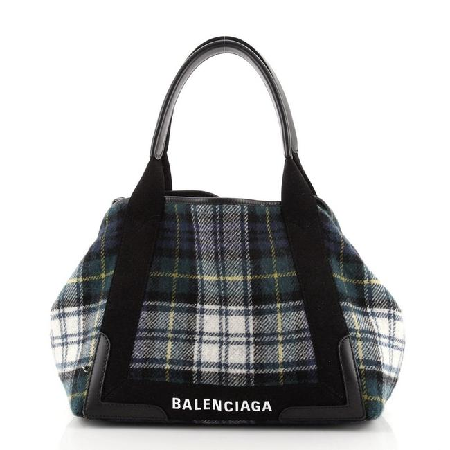 Item - Cabas Navy Small Multicolor Leather Wool Tote