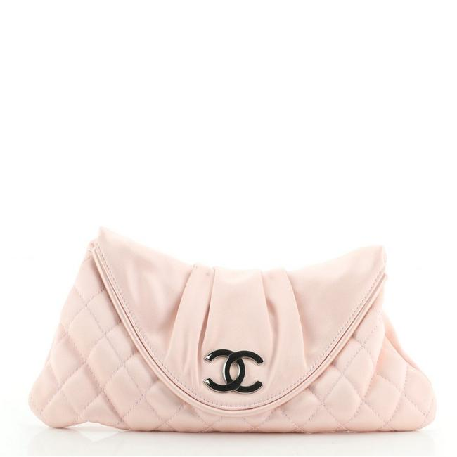 Item - Cc Half Moon Quilted Small Pink Satin Clutch