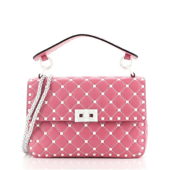 Item - Flap Free Rockstud Spike Quilted Medium Pink Leather Cross Body Bag
