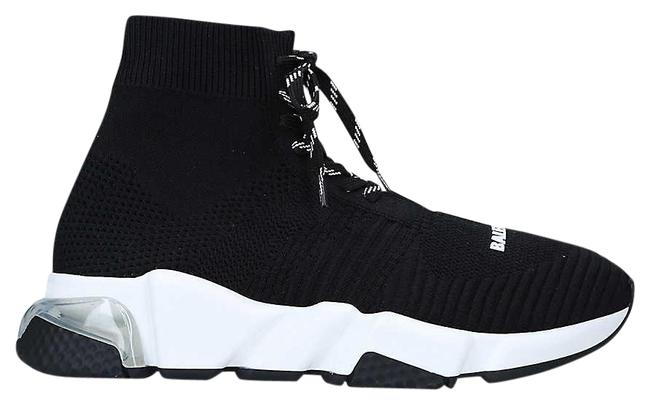 Item - Black Speed Slip-on Knitted Mid-top Trainers Sneakers Size EU 41 (Approx. US 11) Regular (M, B)