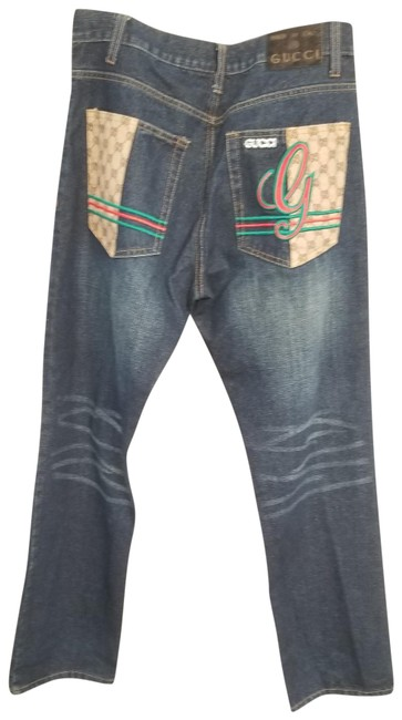 """Item - Blue Distressed mia Patch 32"""" Waist X 33"""" Inseam Relaxed Fit Jeans Size 32 (8, M)"""