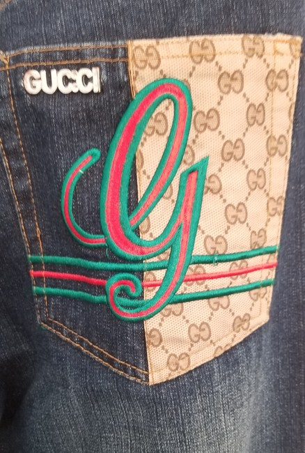 """Gucci Blue Distressed Guccimia Patch 32"""" Waist X 33"""" Inseam Relaxed Fit Jeans Size 32 (8, M) Gucci Blue Distressed Guccimia Patch 32"""" Waist X 33"""" Inseam Relaxed Fit Jeans Size 32 (8, M) Image 7"""