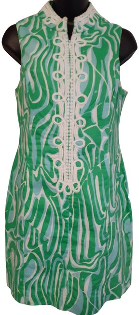 Item - Blue Green White Shift Resort Style Day To Evening Mid-length Short Casual Dress Size 8 (M)