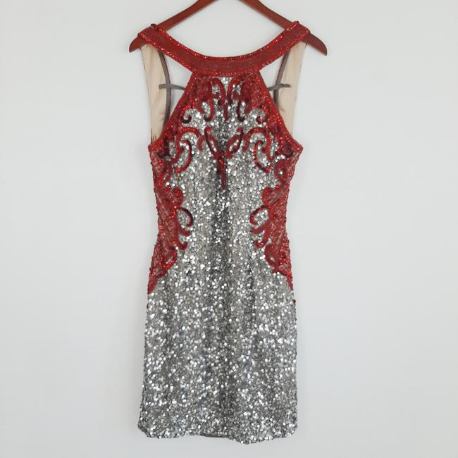 Item - Silver Red and Sequin Mini Short Cocktail Dress Size 12 (L)