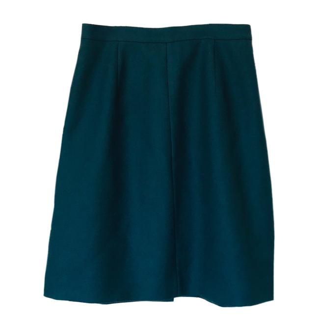 Item - Green Button Flare Double Serge Wool Skirt Size 4 (S, 27)