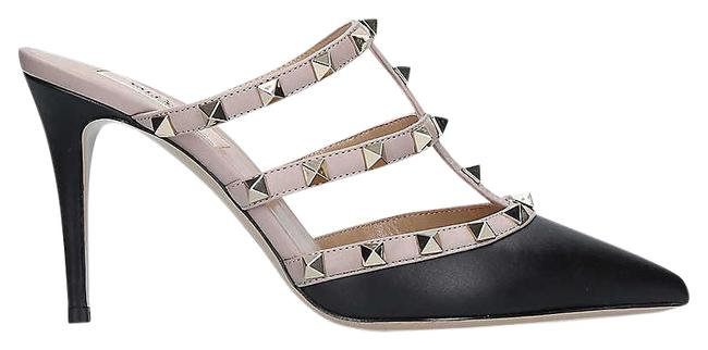 Item - Black/Beige Rockstud Leather Heeled Mules/Slides Size EU 37.5 (Approx. US 7.5) Regular (M, B)