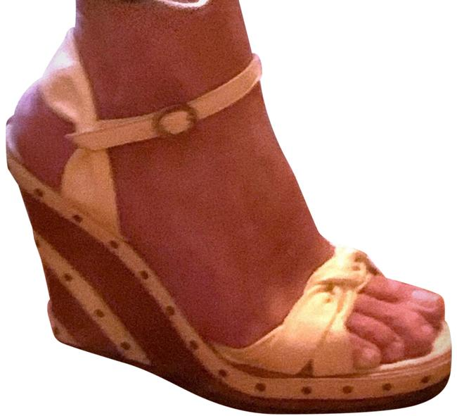 Item - Yellow Leather Strappy Wood Sandals Wedges Size US 8.5 Regular (M, B)