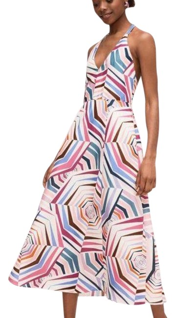 Item - Multi-colored Collection Geobrella Abstract Silk Linen Halter Long Night Out Dress Size 6 (S)