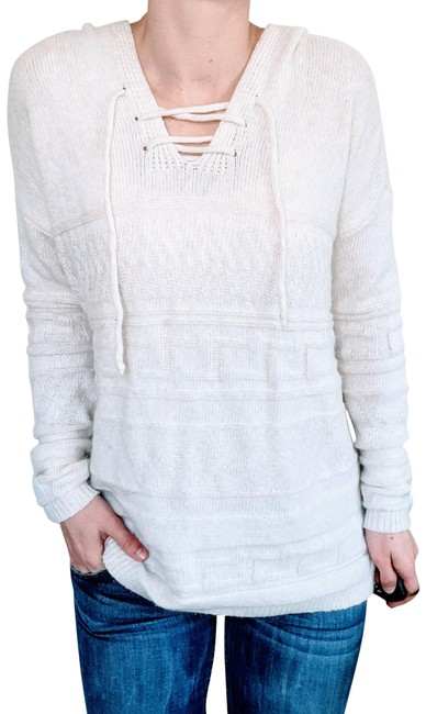 Item - Hooded Knit with Cross Tie Front White Sweater