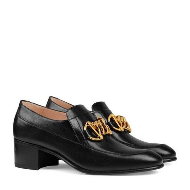 Item - Horsebit Black 588960 Chain Ice Lolly Leather Loafer Flats Size EU 39.5 (Approx. US 9.5) Regular (M, B)