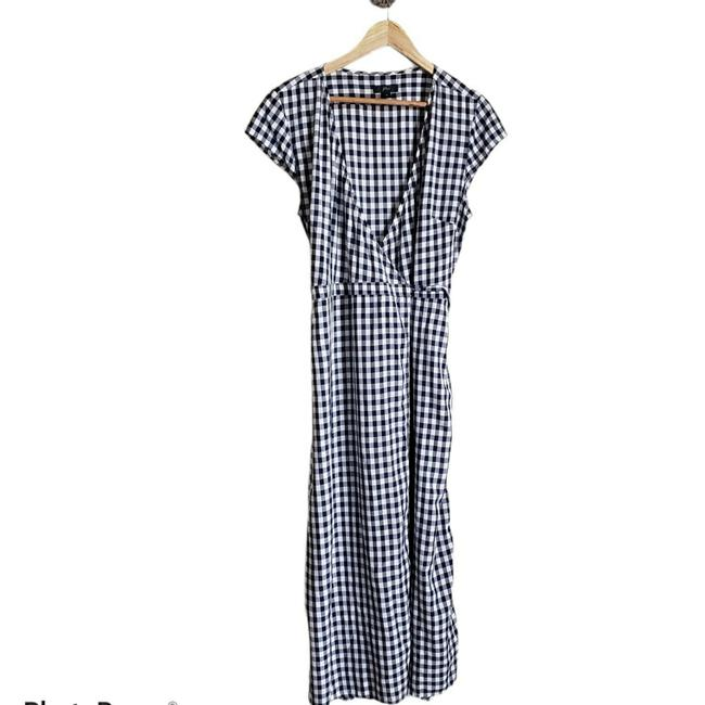 Item - White Navy Gingham Wrap Long Casual Maxi Dress Size 10 (M)