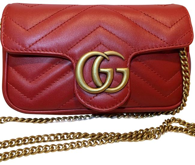 Item - GG Super Mini Marmont Red Leather Cross Body Bag