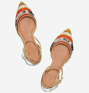 Tory Burch Tan Multi Color Isle Embellished Ankle Strap Flats Pointed Toe Sandals Size US 5 Regular (M, B)