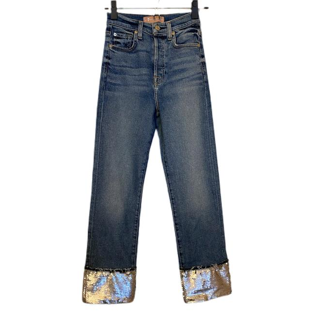 Item - Blue Silver Medium Wash Luxe Vintage with Sequined Hem Straight Leg Jeans Size 00 (XXS, 24)