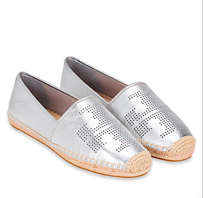 Item - Silver New Perforated Leather Espadrille Flats Size EU 36 (Approx. US 6) Regular (M, B)