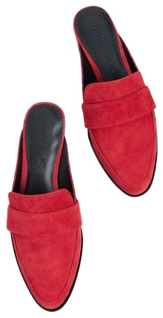 Item - Red Suede Leather Mika Mules/Slides Size US 8.5 Regular (M, B)