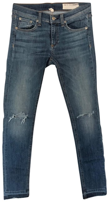 Item - Blue Distressed Capri Ankle Skinny Jeans Size 2 (XS, 26)