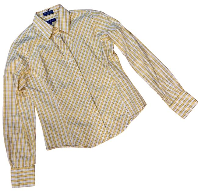 Item - Yellow and White. 58665 Button-down Top Size 6 (S)