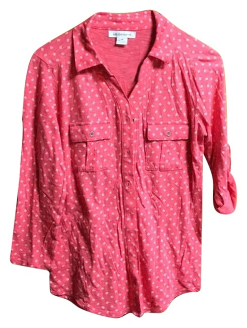 Item - Salmon Roll-tab Collared Fitted Blouse Button-down Top Size 4 (S)