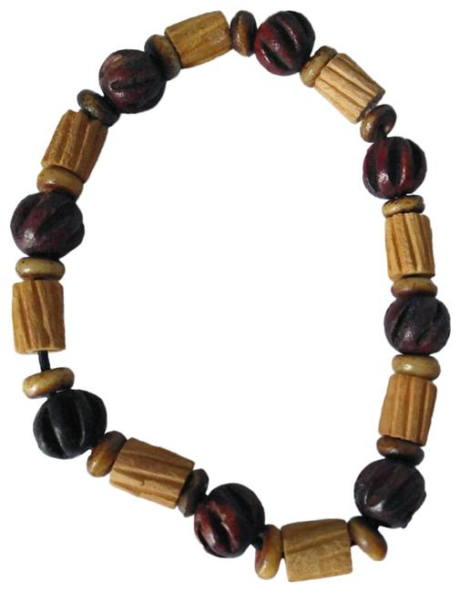 Item - Brown and Tan Vtg Handcrafted Boho Beaded Stretch Bracelet